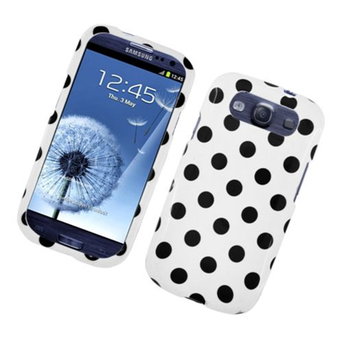 Insten Polka Dots Hard Plastic Cover Case For Samsung Galaxy S3, White/Black