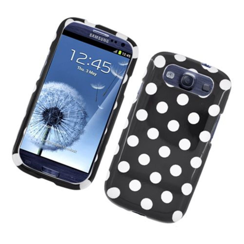Insten Polka Dots Hard Plastic Cover Case For Samsung Galaxy S3, Black/White