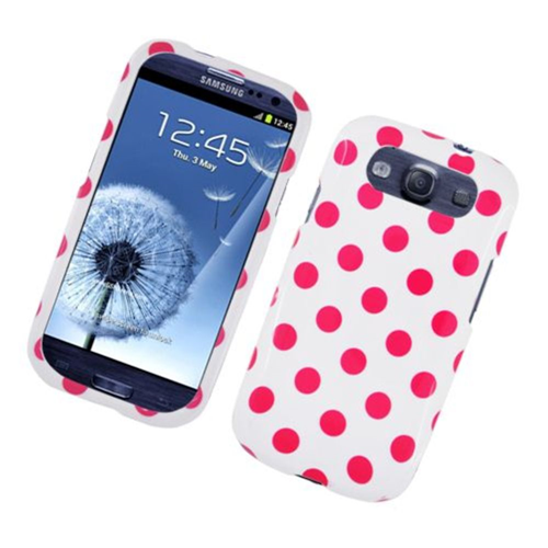 Insten Polka Dots Hard Plastic Case For Samsung Galaxy S3, White/Pink