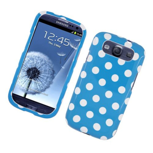 Insten Polka Dots Hard Plastic Cover Case For Samsung Galaxy S3, Blue/White