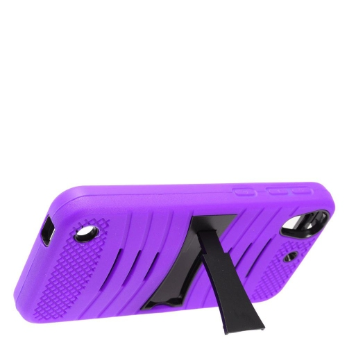 Insten Wave Symbiosis Soft Rubber Hard Case w/stand For HTC Desire 530, Purple/Black