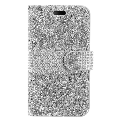 Insten Folio Leather Diamond Cover Case w/card holder For LG X Power, Silver
