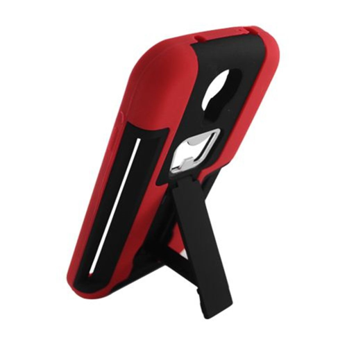 Insten Hard Dual Layer Rubber Silicone Cover Case w/stand For Samsung Galaxy S4, Black/Red