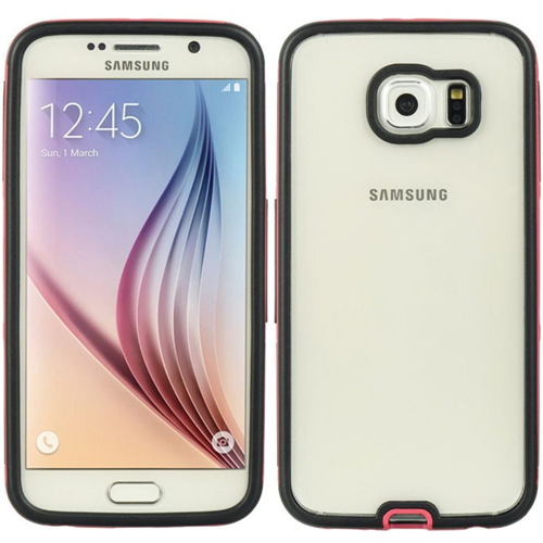 Insten Hard Dual Layer Plastic TPU Cover Case For Samsung Galaxy S6, Clear/Hot Pink
