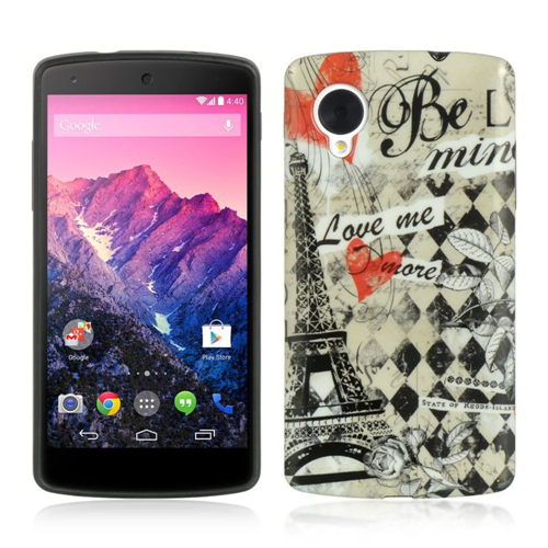 Insten Paris TPU Cover Case For LG Google Nexus 5 D820, Black/White