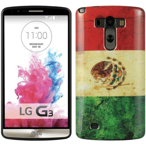 Insten Mexico Gel Case For LG G3, White/Red