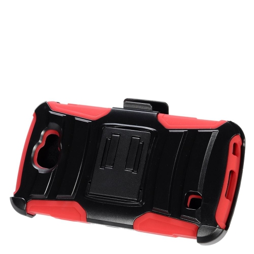 Insten Advanced Armor Hard Hybrid Plastic Silicone Case w/stand/Holster For LG K3 (2016), Black/Red