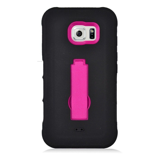 Insten Symbiosis Gel Rubber Hard Case w/stand For Samsung Galaxy S7 Active, Black/Hot Pink