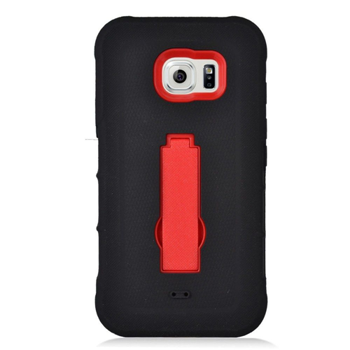 Insten Symbiosis Gel Rubber Hard Case w/stand For Samsung Galaxy S7 Active, Black/Red