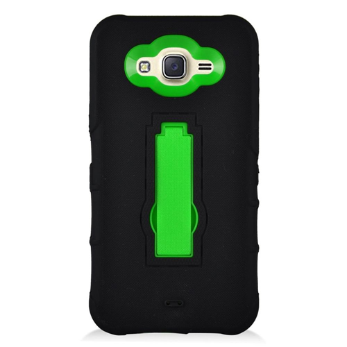 Insten Symbiosis Silicone Rubber Hard Cover Case w/stand For Samsung Galaxy J7 (2016), Black/Green