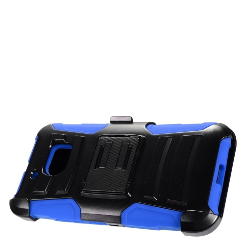 Insten Advanced Armor Hard Dual Layer Plastic Silicone Case w/stand/Holster For HTC 10, Black/Blue