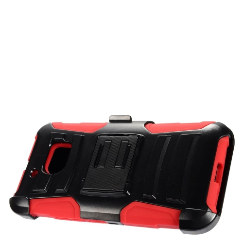 Insten Advanced Armor Hard Dual Layer Plastic Silicone Case w/stand/Holster For HTC 10, Black/Red