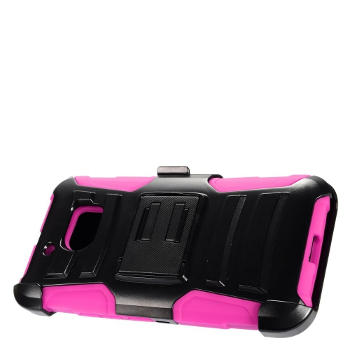 Insten Advanced Armor Hard Hybrid Plastic Silicone Case w/stand/Holster For HTC 10, Black/Hot Pink