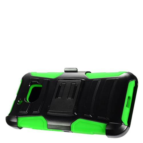 Insten Advanced Armor Hard Hybrid Plastic Silicone Case w/stand/Holster For HTC 10, Black/Green