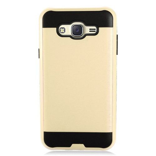 Insten Chrome Dual Layer Brushed Hard Cover Case For Samsung Galaxy J7 (2015), Gold/Black