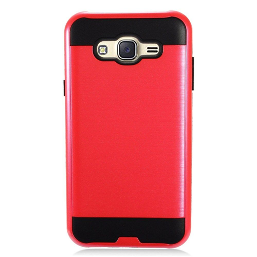 Insten Chrome Dual Layer Brushed Hard Cover Case For Samsung Galaxy J7 (2015), Red/Black