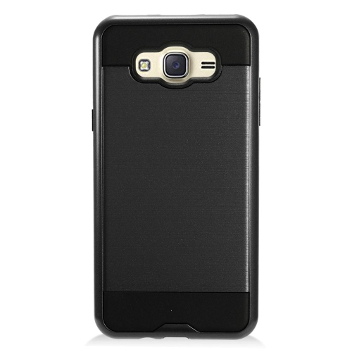 Insten Chrome Hybrid Brushed Hard Cover Case For Samsung Galaxy J7 (2016), Black