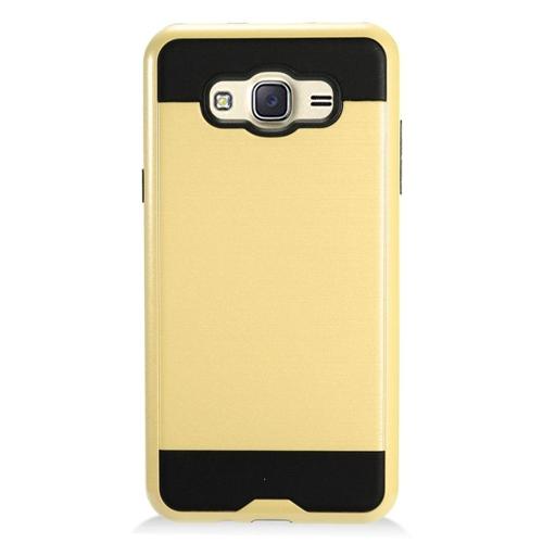 Insten Chrome Hybrid Brushed Hard Case For Samsung Galaxy J7 (2016), Gold/Black