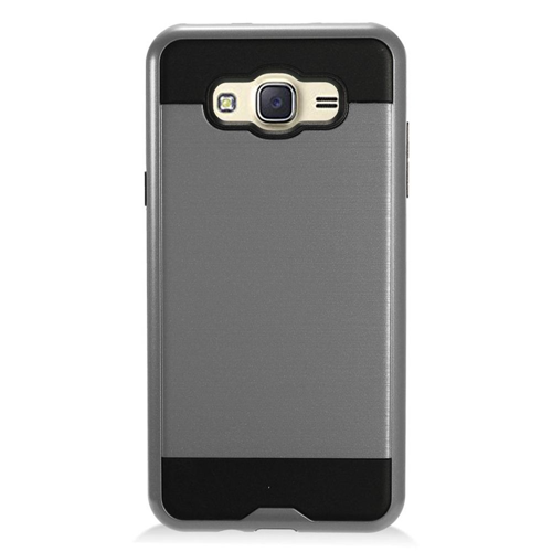 Insten Chrome Dual Layer Brushed Hard Cover Case For Samsung Galaxy J7 (2016), Gray/Black