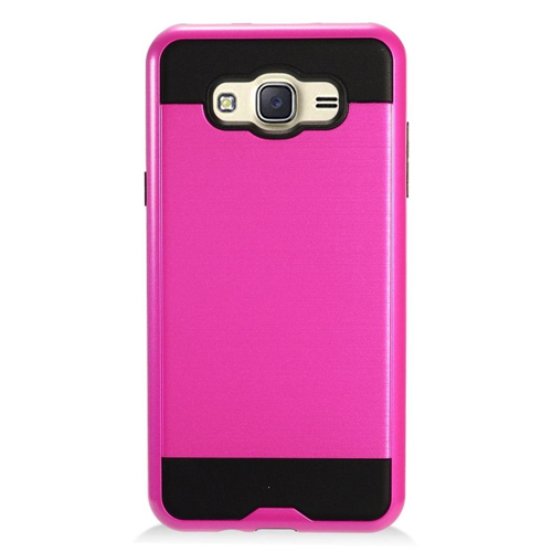 Insten Chrome Dual Layer Brushed Hard Case For Samsung Galaxy J7 (2016), Hot Pink/Black