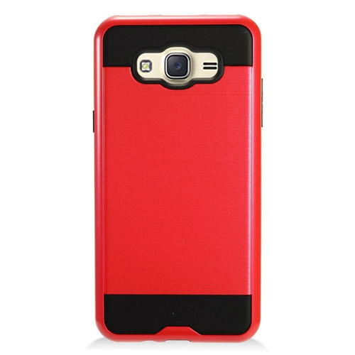 Insten Chrome Dual Layer Brushed Hard Cover Case For Samsung Galaxy J7 (2016), Red/Black