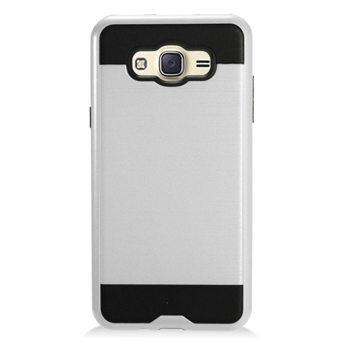 Insten Chrome Dual Layer Brushed Hard Case For Samsung Galaxy J7 (2016), Silver/Black