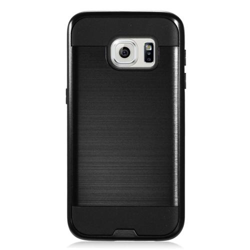 Insten Chrome Hybrid Brushed Hard Case For Samsung Galaxy S7, Black