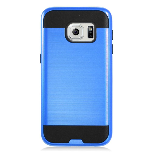 Insten Chrome Hybrid Brushed Hard Cover Case For Samsung Galaxy S7, Blue/Black