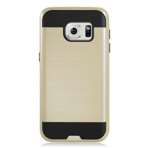 Insten Chrome Dual Layer Brushed Hard Cover Case For Samsung Galaxy S7, Gold/Black