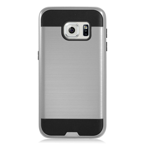 Insten Chrome Hybrid Brushed Hard Case For Samsung Galaxy S7, Gray/Black