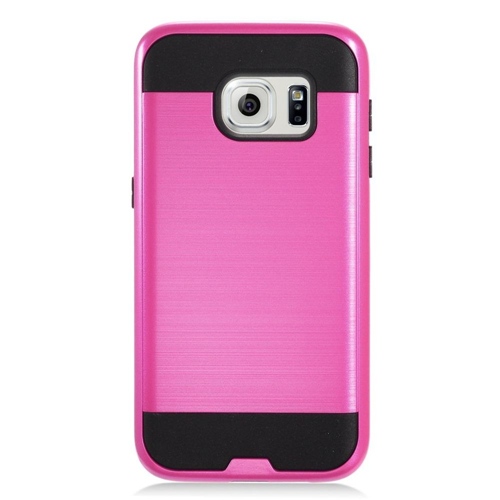 Insten Chrome Hybrid Brushed Hard Case For Samsung Galaxy S7, Hot Pink/Black