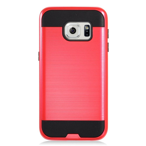 Insten Chrome Hybrid Brushed Hard Case For Samsung Galaxy S7, Red/Black