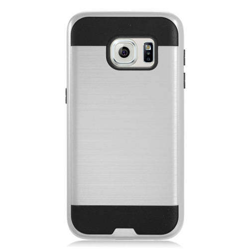 Insten Chrome Hybrid Brushed Hard Cover Case For Samsung Galaxy S7, Silver/Black