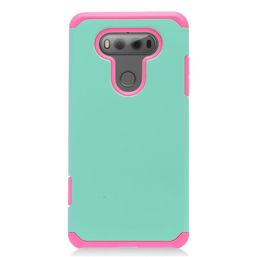 Insten Hard Hybrid TPU Cover Case For LG V20, Mint Green/Hot Pink