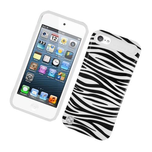 Insten Night Glow Zebra Hard Jelly Silicone Cover Case For Apple iPod Touch 5th Gen, Black/White