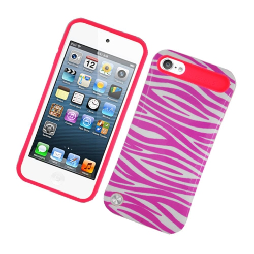 Insten Night Glow Zebra Hard Jelly Silicone Case For Apple iPod Touch 5th Gen, Hot Pink/White