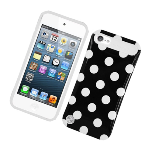 Insten Night Glow Polka Dots Hard Jelly Silicone Case For Apple iPod Touch 5th Gen, Black/White