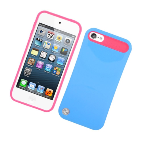 Insten Night Glow Hard Jelly Silicone Cover Case For Apple iPod Touch 5th Gen, Blue/Hot Pink