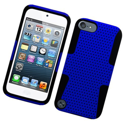 Insten Mesh Hard Dual Layer TPU Cover Case For Apple iPod Touch 5th Gen, Blue/Black