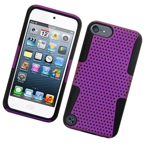 Insten Mesh Hard Hybrid TPU Cover Case For Apple iPod Touch 5th Gen, Purple/Black