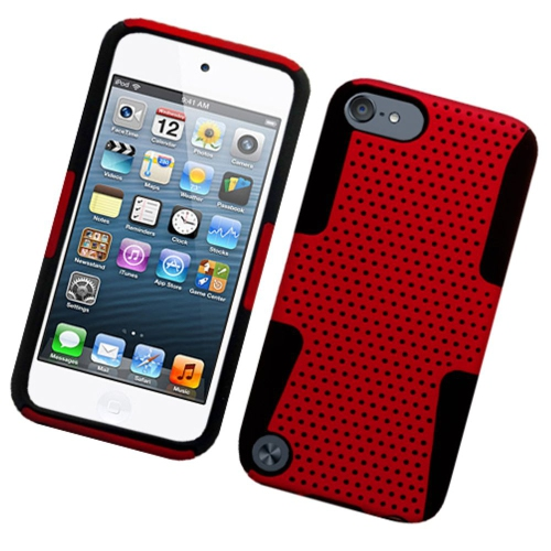 Insten Mesh Hard Hybrid TPU Case For Apple iPod Touch 5th Gen, Red/Black