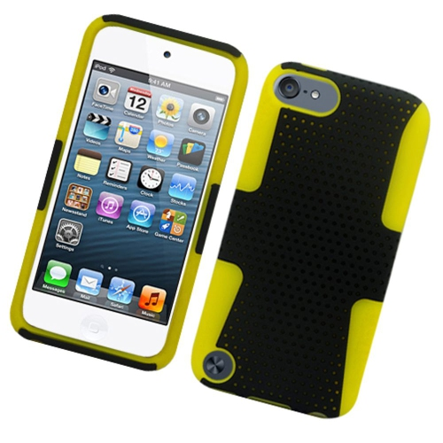 Insten Mesh Hard Hybrid TPU Case For Apple iPod Touch 5th Gen, Black/Yellow