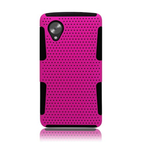 Insten Mesh Hard Dual Layer TPU Case For LG Google Nexus 5 D820, Hot Pink/Black