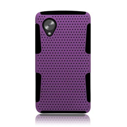 Insten Mesh Hard Hybrid TPU Cover Case For LG Google Nexus 5 D820, Purple/Black