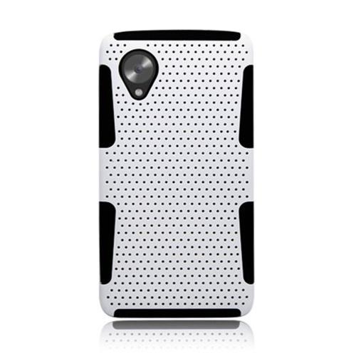 Insten Mesh Hard Hybrid TPU Cover Case For LG Google Nexus 5 D820, White/Black