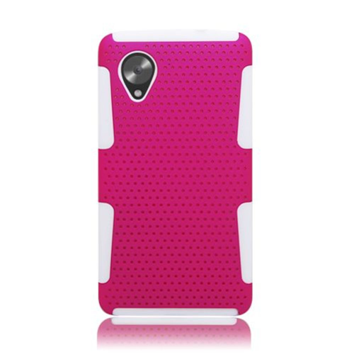 Insten Mesh Hard Dual Layer TPU Cover Case For LG Google Nexus 5 D820, Hot Pink/White