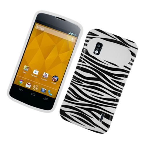 Insten Night Glow Zebra Hard Jelly Silicone Case For LG Google Nexus 4 E960, Black/White