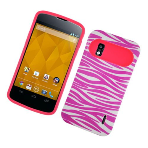 Insten Night Glow Zebra Hard Jelly Silicone Cover Case For LG Google Nexus 4 E960, Hot Pink/White