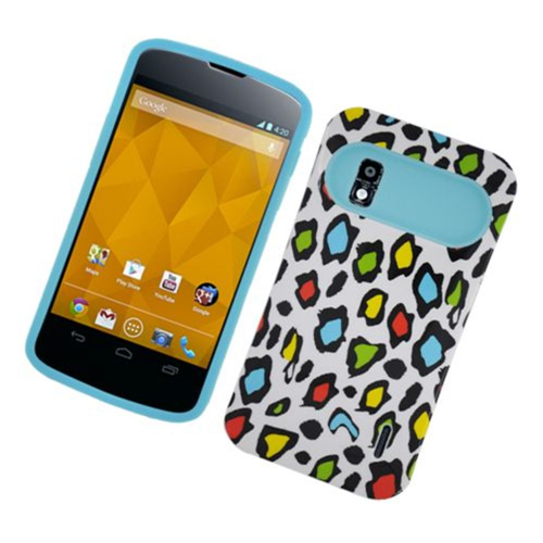 Insten Night Glow Leopard Hard Jelly Silicone Cover Case For LG Google Nexus 4 E960, Colorful/Blue