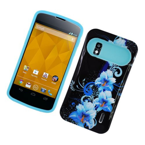 Insten Night Glow Flowers Hard Jelly Silicone Case For LG Google Nexus 4 E960, Black/Blue